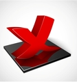 3d red check mark symbol vector image vector image
