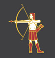 archer shooting bow and arrow in simp vector image