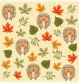 autumn seamless pattern with leaves and hedgehogs vector image