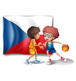 Basketball players in front of the Czech Republic vector image vector image