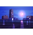 beautiful night cartoon city with moon vector image