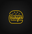 burger linear logo yellow burger on background vector image