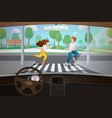 car interior driver point view vector image