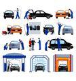 Car Wash Service Flat Pictograms Set vector image vector image