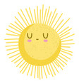 cartoon sun summer hot weather isolated style vector image vector image