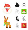 christmas attributes and accessories cartoonblack vector image