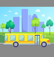 city street bus on road skyscrapers on horizon vector image vector image