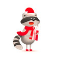 cute raccoon with gift and christmas greeting vector image vector image