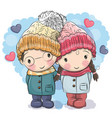 cute winter cute boy and girl vector image vector image