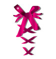 decorative pink bow with horizontal ribbon on vector image vector image