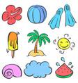 doodle element summer set style vector image vector image