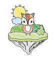 doodle female fox animal in the float island vector image vector image
