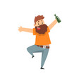 drunk bearded man with bottle of alcohol drink in vector image vector image