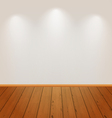 Empty wall with light and wooden floor vector image vector image