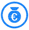 euro money bag rounded icon rubber stamp vector image vector image