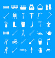 farming equipment garden icons set simple style vector image