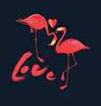 festive card in love with red flamingos with a vector image