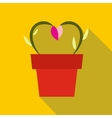 Flowers in a pot icon vector image vector image