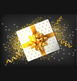 gift box golden bow realistic confeti and vector image vector image