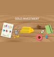 gold investment with gold bar with graph paper vector image vector image