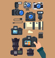 graphic set camera and video recorder vector image vector image