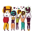 Group happy casual people isolate colors vector image vector image