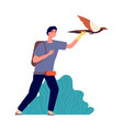 guy and falcon male bird owner wild pet man vector image vector image