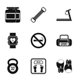 Gym icons set simple style vector image vector image