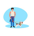 happy man walking with dog guy with puppy having vector image vector image