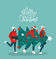 happy tree friends carrying christmas tree vector image vector image