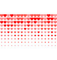 heart halftone background red hearts on white vector image vector image
