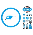 Helicopter Flat Icon with Bonus vector image vector image