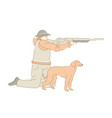 hunter with rifle and dog aiming prey hunting vector image