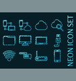 internet and technology set icons neon style vector image