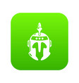 knight helmet icon green vector image vector image