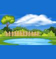 landscape background design with pond in park vector image vector image