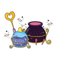 magic witch cauldron with potion bottle and wand vector image vector image
