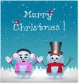 merry christmas card of kawaii snowman and vector image