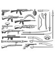 military ammunition fight weapon and guns vector image vector image