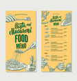 pasta restaurant food menu vintage template vector image