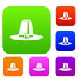 pilgrim hat set collection vector image vector image