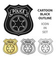 police officer badge icon in cartoon style vector image