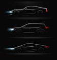 realistic car profile dark icon set vector image vector image