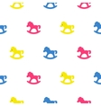 Rocking horse blue pink and yellow kid pattern vector image