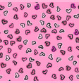 seamless pattern with hand drawn hearts happy vector image vector image