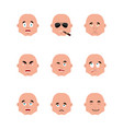 set guy emoji avatar sad and angry face guilty vector image vector image