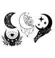 set magic black moons with stars and flowers on vector image