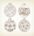 set of christmas balls doodle for design vector image