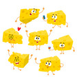 set of cute and funny cheese chunk character vector image