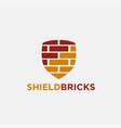 shield bricks logo icon template vector image